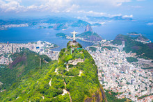 Beautiful Aerial View Of Rio De Janeiro City With Corcovado And Sugarloaf Mountain In The Background From The Helicopter Ride - Rio De Janeiro, Brazil