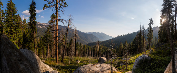 Panoramic image of a vast mountain landscape taken in Mineral King, California.