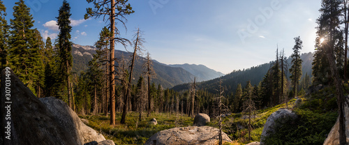 Panoramic image of a vast mountain landscape taken in Mineral King, California.   #307031499