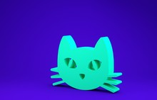 Green Cat Icon Isolated On Blue Background. Minimalism Concept. 3d Illustration 3D Render