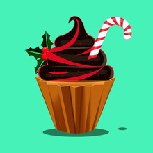 Cupcake Christmas Holiday Treat With Chocolate Frosting