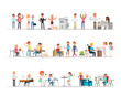 Set of business people working in office character vector design no6