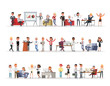 Set of business people working in office character vector design no9