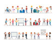 Set of business people working in office character vector design no10