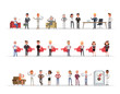 Set of business people working in office character vector design no13