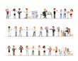 Set of business people working in office character vector design no12