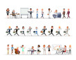 Set of business people working in office character vector design no15