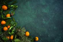 Fresh Tangerines And Fir Branc...