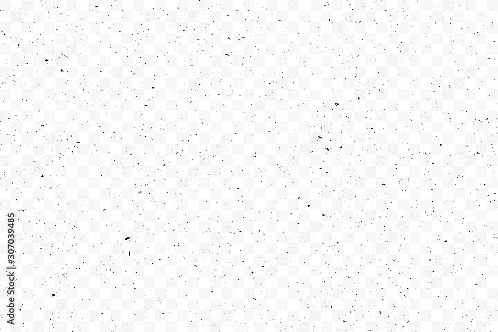 Fototapeta Texture grunge chaotic random pattern on transparent background. Monochrome abstract dusty worn scuffed background. Spotted noisy backdrop. Vector.