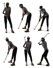 Set With Silhouettes Of Beautiful Golfer On White Background