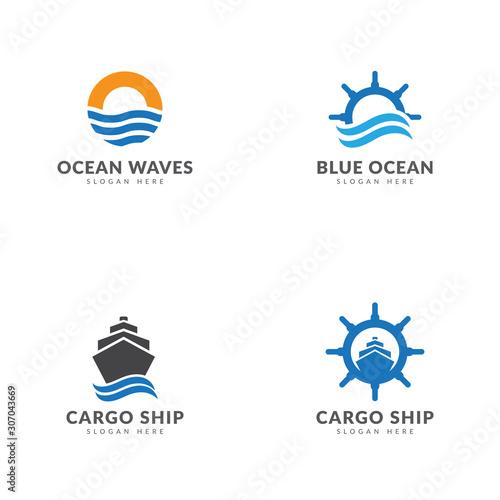 Fotografia Cargo ship logo template collection, ship, sea, boat stir, waves vector design