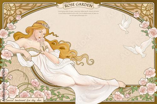 Fototapeta Elegant art nouveau style goddess