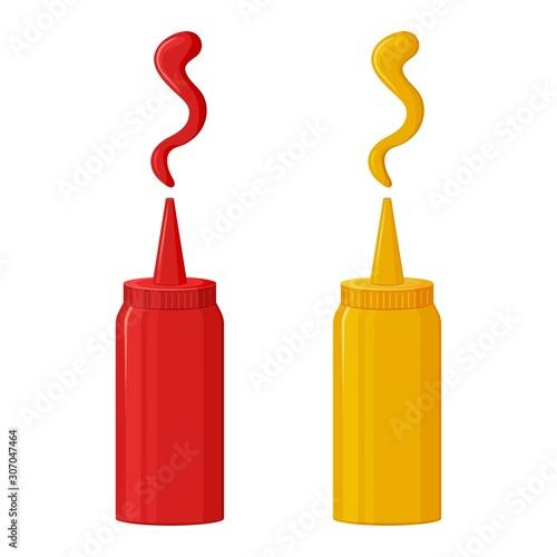 Cuadros en Lienzo Sauce icon, ketchup and mustard