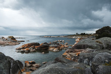 View On The Rocky Coastline In Bay Of Fires, Tasmania Before Storm