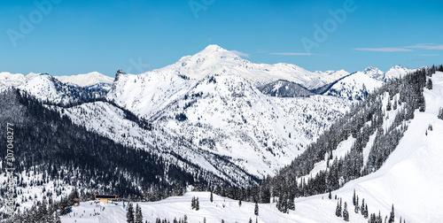Washington Ski and Snowboard Resort Snowy Mountain Peak Background #307048277