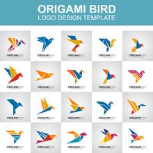 Origami Bird Icon Logo Design Template