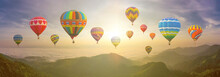 Colorful Hot Air Balloons. Bea...