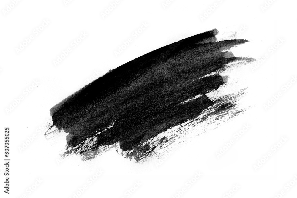 Fototapeta Abstract black ink texture Japan style on a white background.