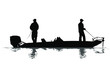 A vector silhouette of two men fishing on a bass boat.