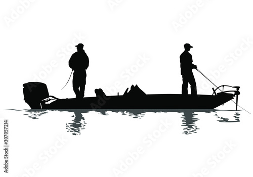 Fototapeta A vector silhouette of two men fishing on a bass boat.