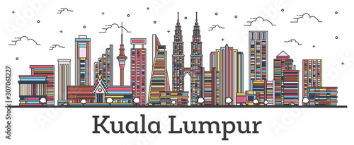 Outline Kuala Lumpur Malaysia City Skyline with Color Buildings Isolated on White Wallpaper Mural