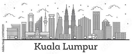 Photo Outline Kuala Lumpur Malaysia City Skyline with Modern Buildings Isolated on White