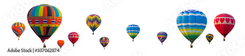 Fotografia, Obraz Colorful Hot Air Balloons isolated on white background