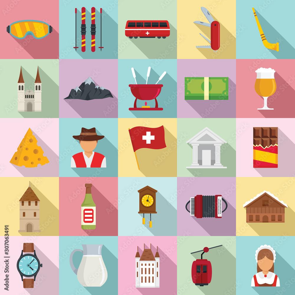 Fototapeta Swiss icons set. Flat set of swiss vector icons for web design