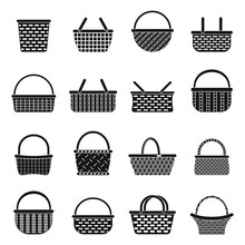 Wicker Basket Icons Set. Simple Set Of Wicker Basket Vector Icons For Web Design On White Background