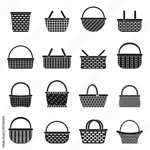 Fotografija Wicker basket icons set