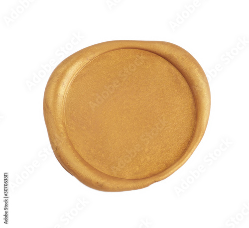 Fotografija Gold wax seal isolated on white background. Empty stamp overview.