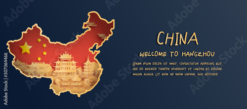 Fotografía  China flag and map with Hangzhou skyline, world famous landmarks in paper cut st