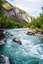 Behemoth River Rapid On The Chuya River, Mountain Altai, Russia