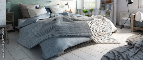 Fotografía  Truss Bedroom with Pallet Furniture (panoramic) - 3d visualization