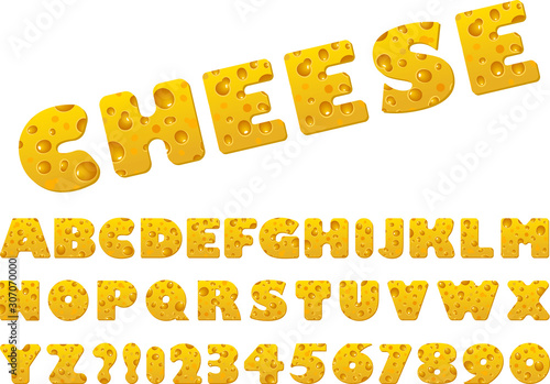 Obraz na plátně Set of vector cheese slice font and alphabet.