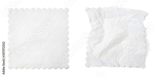 Fotografie, Obraz White paper napkin isolated on white background with clipping path included