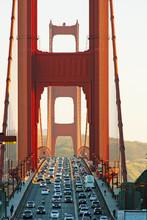Golden Gate Bridge In San Francisco At Sunset.