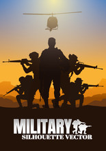 Military Vector Illustration, Army Background, Soldiers Silhouettes.