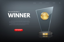 Landing Page With Winner Award Realistic Design