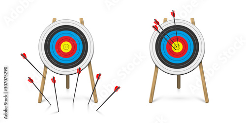 Valokuvatapetti Hitting and missed target with archery arrow set