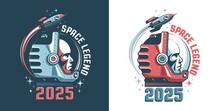 Astronaut Head - Retro Logo. Spaceman In Helmet - Vintage Emblem, Vector Illustration.