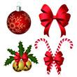Christmas decoration set vector illustration isolated on white background
