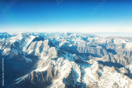 Andes Mountains (Cordillera de los Andes) viewed from an airplane window Wallpaper Mural