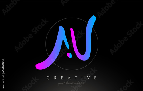 Photo AU Artistic Brush Letter Logo Handwritten in Purple Blue Colors Vector