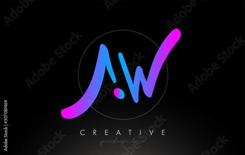Cuadros en Lienzo AW Artistic Brush Letter Logo Handwritten in Purple Blue Colors Vector