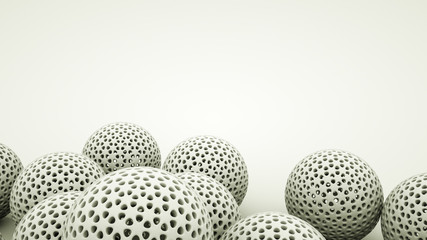 White three-dimensional openwork spheres background. 3d rendering illustration