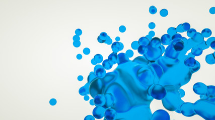 Blue transparent abstract three-dimensional figure on a white background. 3d rendering illustration