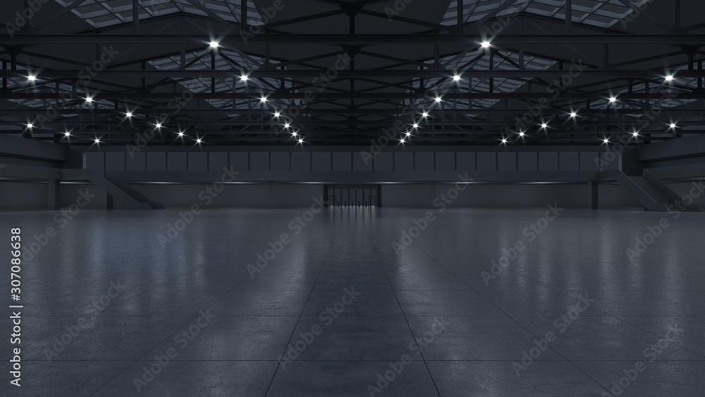 Obraz 3D render of empty exhibition space. backdrop for exhibitions and events. Tile floor. Marketing mock up. fototapeta, plakat