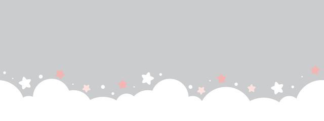 cute cloud and stars on pastel grey bottom border seamless pattern.