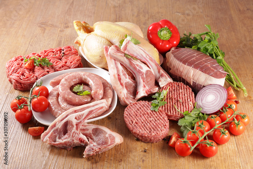 raw meat assortment, minced beef, sausage- chicken-roast beef Canvas Print